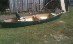 16ft Canoe used very little. very stable! has trolling motor bracket on back. 2 removable folding chairs. 4 paddles. Great light weight Canoe! asking $450.00 call 205-495-5889.