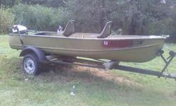 This boat is in fantastic shape,I have added 2 pedestal seats.Also comes with anchor,oars and life vest.It does not have a motor.IT DOES NOT LEAK AND ALL THE RIVETS ARE IN GREAT SHAPE!