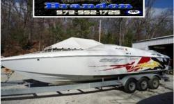 WOW! One more time, WOW! This bad boy is hot! Looks like brand new! Powered by 377 Mags, you'll get there in a hurry without emptying the wallet before you get back! Their pushed by the performance minded Bravo drives and you'll love the sound thru hull