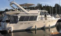 Beautiful turn-key and well-maintained Northwest pilothouse cruiser.This boathouse kept yacht includes:Twin low hour 220 HP diesel Hino's, 12.5 Westerbeke generator, enclosed aft deck, Espar Hydronic diesel heat, sleeps six in three staterooms, electric