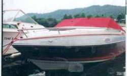 This is a cuddy cabin boat with a 185 HP or 200 HP Vortec V-6 block I/O Alpha 1 drive. It has not been used for the last six years when it was winterized and fuel stabilized. It rests on a single axle trailer which does not have electric brakes. The boat