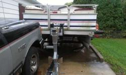 THIS PONTOON IS 1990 SYLVAN WESTWIND WITH A 4O HORSEPOWER MARINER MOTOR THAT RUNS WELL. THE TRAILER WAS BOUGHT NEW 5yrS AGO AND STILL IN TERRIFIC SHAPE, RIDES WELL DOWN THE ROAD, ATTRACTIVE TIRES, NEW BATTERY GOOD BOAT, GREAT DEAL. PLENTY OF ROOM INTERIOR