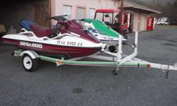 I have two seadoos with trailer for sale. The 1st is a 1999, 135hp, runs well, has new battery still in box. Has digital guages and is very fast. The 2nd is a 1995, 100hp, runs well, new starter. Has speedometer and gas gauge. Both are on a double trailer