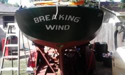 24 ft. deep water sailboat, vessel. The make: Kenner, year is 1964, has a cabin, no main motor, but does have a small motor in it however.The length is 24 ft. The primary color is green, secondary color red, hull material: fiberglass, propulsion: