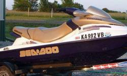 2003 Seadoo GTI LE Millennium edition, 800CC engine, 3 seater. PCW has approx 50 hours on the water and has been serviced and winterized yearly it comes with the trailer, and trailer jack for easy lift. It runs great! Gets up to 46 - 50 mph depending on