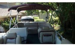 This pontoon has been refurbished completely. The seats are the thick plush ones with recliners, great carpet, Bimini top new, New radio, new sun deck pad in back, holder for grill on front and captains chair with swivel. Now the bad........ Engine does