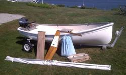 Excellent condition Trinka 10 with full sailing gear, new (only 2hrs.) Yamaha 2.5hp Four-stroke, full cover, teak seat and floorboards, Elvstrom self-bailer, stainless steel transom molding, oak bottom skids, bronze cleats, launch dolly.
