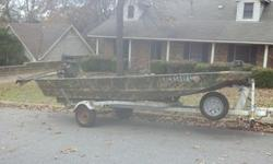 I bought this boat new in October of 2011. I am in law school and have not been able to hunt or fish much at all. This boat has only been in the water about 10 times. The boat is made by ALWELD and has a .100 thickness hull. Alweld is the boat company