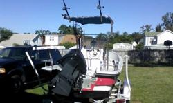 This is a very nice boat . Everything in it is double thickness. 1995 112 Evenrude SPL MOTOR Salt water series. works great and is ready for the water. .NEW , Water pump, lower end oil and seals and propeller. carbs rebuilt and tune up. 3 fuel tanks = 18