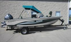 This 2003 Lowe boat is in great condition. The hull is in very clean condition. There are no dents or repairs to the aluminum hull. There are only a couple dock dings on each side. The from deck has a removable center platform with a seat mount for