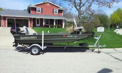 "2005 14' Alumacraft Jon Boat, 3 yr old 18hp Nissan longshaft, 5 yr old E-Z loader trailer, Minn-Kota ""all terrain"" trolling motor,4 yr old Eagle 320 fish finder. Excellent shape, runs great. $4,400.00 Dave-414-750-7579"