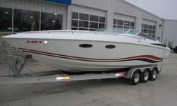 Baja 290 Powerboat. Twin 454 MerCruiser Engines, Corsa Silent Choice Exhaust, Bravo One Drives with Quicksilver Mirage 25 Pitch Props, Stainless Pop-Up Cleats, Swim Ladder, Faris Gauges, Humminbird Depth Sounder, Dual Battery Switches, Richie Marine