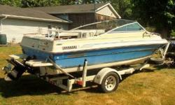 EXCELLENT CONDITION!! 1986 SEA RAY SEVILLE, 18.6 Ft. CUDDY CABIN. 140 HP, 4 CYL., NEW SPARK PLUGS, NEW COIL, RUNS PERFECT! USES REGULAR GAS. BOAT HAS NEW CARPET, NEW STEREO, AND NEW HUMMINGBIRD DEPTH FINDER. FEATURES BIMINI TOP, & STAINLESS STEEL PROP.
