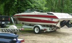 19' open bow, rebuilit 4.3L V6 engine added in 2008, Shorelander roller trailer - lights checked and bearings packed last summer. 8 passenger, very clean inside and out, AM/FM CD stereo w/4 speakers, all gauges work, no tears in the upholestery, alway