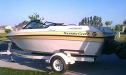 Selling our 1991 Thunder Craft, works great, just not down to the lakes as much as we had want to be. Asking 4500 OBO serious buyers only, comes with trailer. has 140 HP and we get about 45 MPH. Interior would need some cleaning and restitching, but over