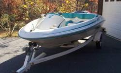 A real fun and dependable jet boat for sale. Garage kept and hardly been pre-owned the past 2 summers. New battery, spark plugs, new starter and new tires for the trailer. 125 H.P engine with top speed of 38 m.p.h, depth finder, new Bimini top. Asking