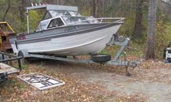 22 foot offshore with cabin, 2 down riggers, coast guard radio and regular radio, fish finder, 7.5 horsepower trolling motor and 155 inboard motor and hard top canopy . shore lander trailer, new tires. price reduced to 4500.00 contact milt at