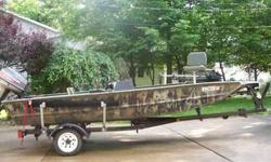 1999 Camouflaged Tracker Grizzly Jon Boat., side consol, with trailer and 50 hp Johnson outboard motor. Sturdy aluminum boat for fishing or duck hunting. Comes with trolling motor. Will sell with or without new humminbird fish finder. 17 feet long, wide
