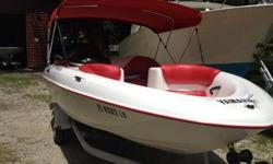 This is a 1999 Yamaha Exciter 135 with a new engine that I have used for about 6 hours all fresh water on Lake Tarpon. The interior and bimini top were replaced a year ago. It really is a beautiful boat. I am selling because I have been transferred and