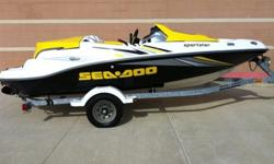 2005 SEADOO SPORTSTER 4 STROKE 215-HP SUPERCHARGED 4 SEATER FRESH WATER BOATWITH SKI BAR. THE BOAT IS A ONE OWNER,USED IN FRESH WATER BUT ALWAYS WASHED AND WAXED AFTER EVERY RIDE,AND THEN THE MOTOR COMPARTMENT WAS WASHED OUT WITH SIMPLE GREEN AND LEFT TO