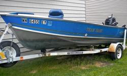1986 Lund Pro Angler for sale. It has a 50 hp Mercury motor with a spare prop that has a new starter, water pump, fuel line/bulb, and plugs within the last two years. The wood and carpet was replaced last year. Also included is a 2011 MinnKota Endura 50 -