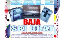 1993 BAJA 204 IslanderMore pics at rmmarinecomDA3586This is a popular boat right here. Baja ski boat, weight is around 2700 dry and is powered by a 4.3L V6. This is a great little family boat that the whole family can enjoy. No need to be worried this is