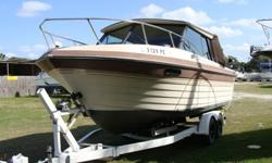 This boat has only been used in freshwater. Single 5.0 Mercruiser with Alpha Drive, Hard Top, Thrust restrictor ( to troll at a reduced speed) Has 4 electric downriggers and rod holders, VHF, Fishfinder, Depth recorder, Great fish boat with alot of room