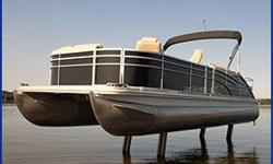 Heavy duty mobile boat lift that permanently attaches to your pontoon. Lift your boat in max water depths of 4.5 - 7 feet on any lake or river bottom. Stop your boat in shallow water without anchors for fishing or swimming. Lift your boat all the way out