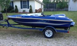 This is nice and rare 1995 Baja Blast 15' jet boat with a great 120 Merc. It has a matching trailer, full cover, custom stereo that will surprise you in terms of much it rocks! it has navigation lights for night cruising and more!