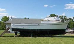 Boat is 36 feet/12 foot beam. Great work or project boat. Fiberglass hull, Ford Lehman Diesel engine, new fuel tanks, 5-K Onan diesel generator. Boat has been reduced down to hull. Dream was to restore it but recent health does not allow it. Boat is in