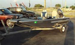 Awesome C5 Custom 14' all-aluminum welded shallow-water bass boat. Ultimate fishing machine! Stick steer setup lets you do it all from your seat. Everything is right at hand - throttle, tiller, trolling engine w/pedal. Live bait well, lots of storage
