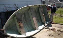 """Reduced from $750. 54"""" at the widest point and the transom is 16"""". Most of the original paint is still intact. You'll need a full sized pickup or a trailer to haul it. There are no dents or scratches. Two or 3 people can fish very comfortably. This boat"""