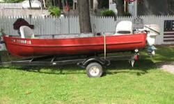 this is a nice small boat with a 1964 johnson 9.5 motor,it comes with a trailer and two life vests,anchor and oars,the motor starts with two pulls every time,dont have time for it anymore and need to move it ,call or 205-2187.Listing originally posted at
