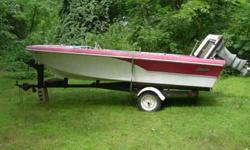 1963 16.5ft Glasrton with 1959 Evinrude Motor and Easy Load Trailer , Comes with all orignal parts, 2 fuel tanks and all hoses, marine battery, origanal Fiberglass top. First $500.00 takes it away.