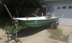 Great Starter Boat and Trailer for Sale! $600 oboI have had this boat and trailer since I could drive a car and they have been great for me. The only reason I am selling is I upgraded to a slightly larger boat.Boat