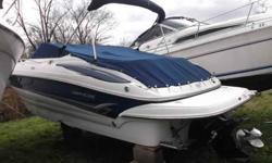 $52,995, MERCRUISER BRAVO III 300HP ENGINE W/129 HOURS OF FRESHWATER USE, COCKPIT COVER, BIMINI TOP W/BOOT, CAMPER CANVAS, NEVER SHRINKWRAPPED, ALWAYS INDOOR WINTER STORED, single owner, RATED FOR ten PEOPLE, FORWARD ANCHOR STORAGE W/FIBERGLASS HATCH,