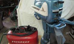 Evinrude 7.5 hp 1955 Fleetwin, model 7518, with good working gas tank. Full tune-up July 2012--points, condenser, coils, carburetor kit, water pump impeller, gear lube. Paint and decals are original. Runs like new.