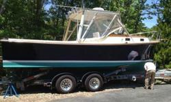 Located in Cataumet, MA. Powered by a 170 HP Yanmar diesel installed in 1999, low 1000 hours. Many recent improvements both mechanically and cosmetically. Classic down east lines, and quality built by Fortier Boats, Inc. Great picnic boat or for tackling