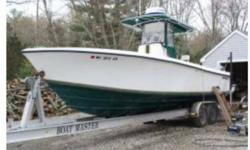 The Contender 27 Open is a no-nonsense offshore, high quality, high-performace fishing machine. She has a large open cockpit with fishing room fore and aft with all the amenities needed for successful fishing. She is powered by twin 225 horsepower Yamahas