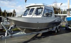 Powered with 225 Yamaha Four stroke. Plenty of power to get you where you want. This is equipped with the premium package (Tachometer, Shark hide, hydraulic steering, stern rails with down rigger brackets, dual wipers, sleeper bench seats, flood light,