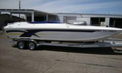 FULLY LOADED AND EXCEPTIONAL CLEAN DCB MACH 26 WITH MIDCABIN BOWRIDER OPTION,260HRS,JUST REBUILT MERCURY RACING 500EFI,500 EFI,XR DRIVE,LOADED WITH ALL THE BEST DCB OPTIONS,TRIM TABS,FULL HYD STR,BIMINI,HUGE STEREO,MONSTER GAUGES W/GPS,FOOT THROTTLE,ELEC