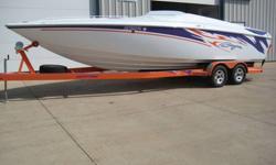 "BAJA - 26' OUTLAW (2007) w/ Mercury - 496 Mag MPI ""HO"" - I/O (470 hp) Mercury - Bravo X - Stern Drive OPTIONS > SST Package Aluminum ""Powder Coated"" Swim Platform (Orange) Livorsi Monster Gauges (Orange Rings w/ Purple Bezels) Livorsi Dual Shifter"