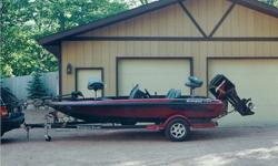 2003 175 VS Ranger Bass Boat with a 125 Mercury. It is in excellent condition.The boat is a 2003 Ranger 175 VSThe motor is a 2003 Mercury 125The trailer is a 2003 Ranger TrailIt has two Garmin 240s. It also has a Minn Kota Maxxum trolling motor.One rod