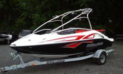 2008 Sea Doo Speedster 200 Wake boat with the optional 430-hp Twin Rotax Suoercharged 4-TEC engines installed. Installed options include Depth Finder and Cruise Control. Onboard there is room for 7 people. Included in the sale is the standard single axle