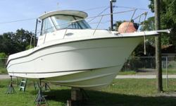 Taking bids over $5k. This is a walk around, hard top. Set up for twin engines. Has Yamaha instruments-no engines, steering or controls. Needs clean up.