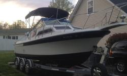 This is a Wellcraft Sportsman 250. The boat is a very stable boat in high seas with its deep bottom ?V?. Overall it is in wonderful shape. I owned it now for five years. I am the second owner of the boat. Over the past five years I put a lot of time into