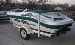 """I have a 1998 seadoo Challenger 18' jet boat. It has twin 110 horsepower motors that run great. Comes on a factory Sea doo trailer with a 2"""" ball and four-way flat light connector. Can be test driven at my house on the river and will be stored in my"""