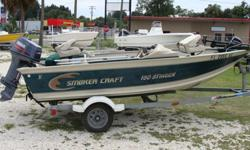 40HP Yamaha 2-stroke, all books, bimini with boot , hummingbird FF,spare tire, Evinrude trolling motor, Live well, Has never seen salt water--fresh water only. Boat, motor and trailer. Looks like new.