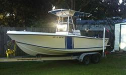 The Hull1988 Mako 211 with solid transom and floor. There are no soft spots or bubbles in the hull or floor. All the upholstery, wood trim, and canvas on the T-top were all redone at the first of this summer and is in perfect condition. The radio and