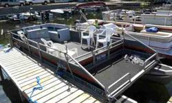 1988 24 ft Suntracker Partybarge Pontoon, with 1995 Mercury 115 remanned motor and lower unit. 2.5-3 hours on new motor. Cover and new steering wheel pedistal comes with. Lots of room for fishing or recreation, open front and front deck. $5500.00 OBO Call